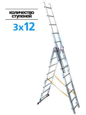 Лестница 3-х секц.3х12 ступ.(h-лест 8,19м, h-стрем 5.64м)