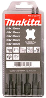 Набор буров (SDS-Plus) MAKITA 5 шт: 5,6,8 х110 мм+6,8х160мм/D-00795