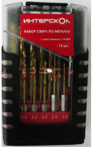 Набор сверл по металлу с хвостиком 1/4 HEX ИНТЕРСКОЛ (14 шт.)/2039400800000 **